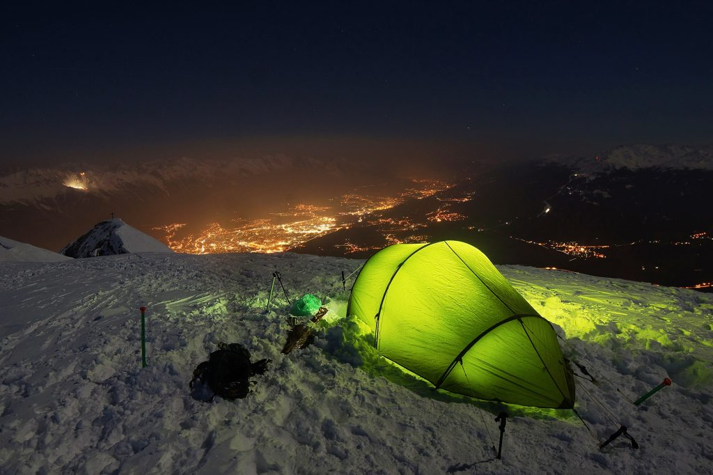 Powered Tent On Top of Mountain
