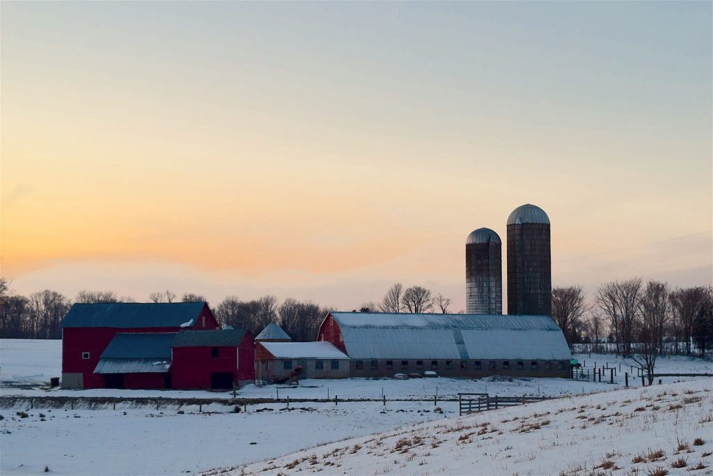 Farm during winter sunset