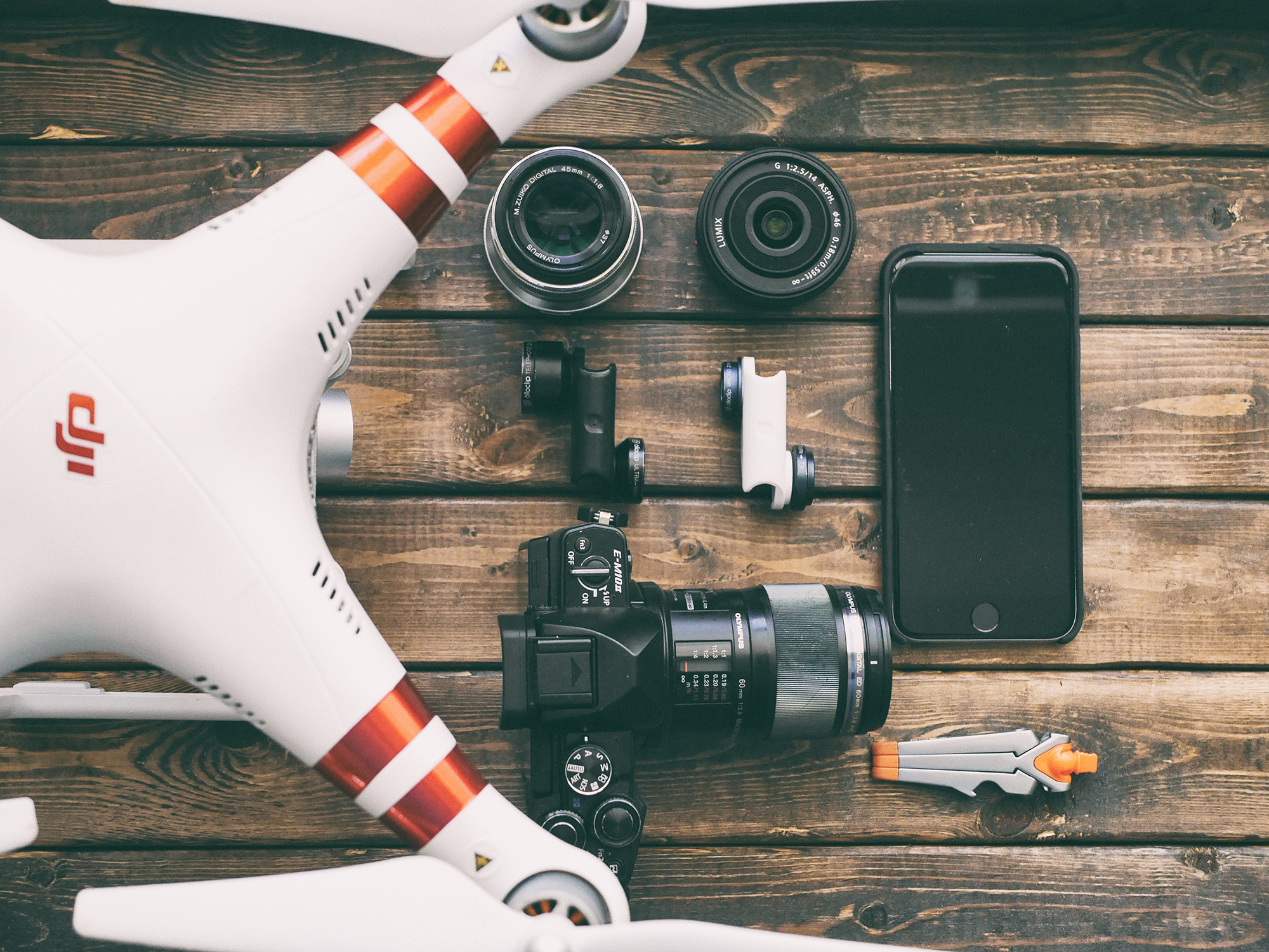Drone, Camera, and Mobile Phone